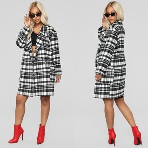 FASHION NOVA Black and White Plaid Coat
